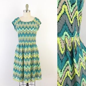 Colorful Chevron Teal Fit Flare Dress Cheerful Fun